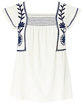 Monsoon Ester Embroidered Square Top