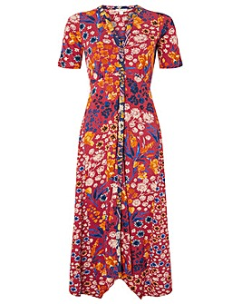 Monsoon Josie Print Hanky Hem Midi Dress