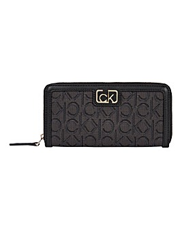 Calvin Klein Black Mix Ziparound Wallet