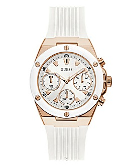 Guess White & Rose Gold Athena Watch