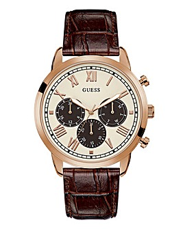Guess Leather Strap Hendrix Watch