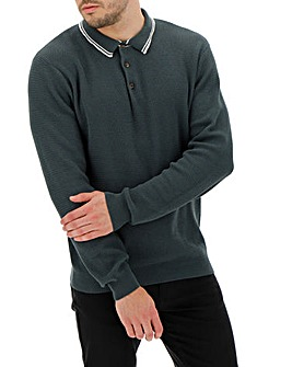 Khaki Tipped Polo Jumper Long