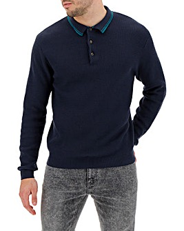 Navy Tipped Polo Jumper Long