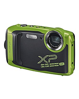 Fujifilm Finepix XP140 Tough Camera Kit inc 32GB SD Card & Bumper Case - Lime