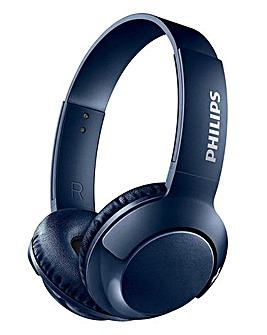 Philips Bass+ Black On-Ear-Bluetooth Headphone Blue