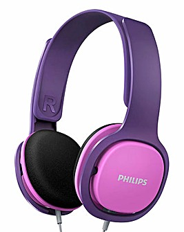 Philips Kids Pink Volume Control Headphones Noise Isolating Ear Cushions