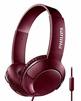 Philips Bass+ Red On-Ear Headphone Flat Fold Noise Isolation Strong Bass