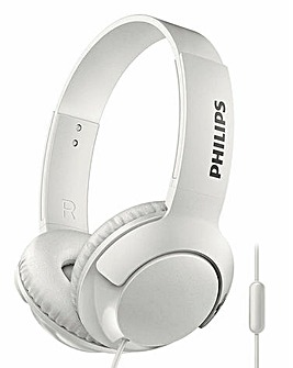 Philips Bass+ White On-Ear Headphone Flat Fold Noise Isolation Strong Bass