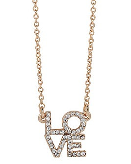 Mya Bay Love Block Necklace - Gold Tone
