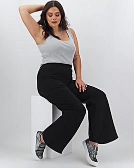 Lottie Black Pull On Wide Leg Jeggings Regular Length