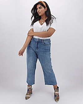 Stonewash Joss Crop Wide Leg Jeans with Raw Cut Hem