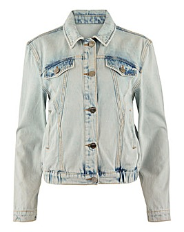 Bleach Acid Wash Cropped Denim Jacket