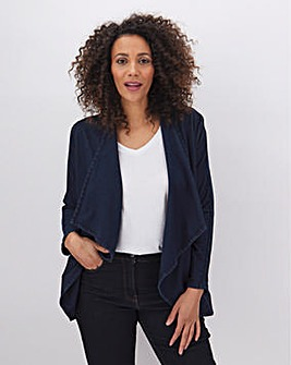 Indigo Jersey Denim Waterfall Jacket