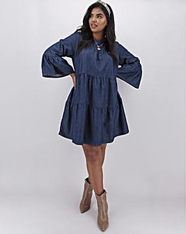 Lightweight Denim Tiered Smock Dress