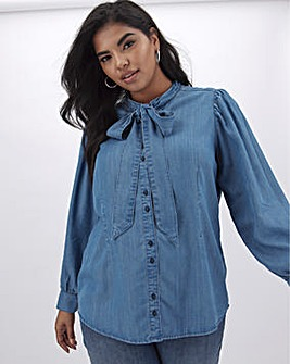 Mid Blue Tencel Denim Tie Neck Blouse