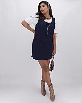 Indigo Jersey Denim Pinafore Dress