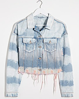Pink Dip Dye Ripped Denim Jacket with Frayed Hem