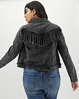 Grey Acid Fringe Denim Jacket