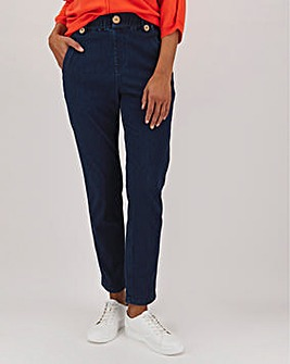 Indigo Jersey Denim Pull-On Mom Jeans