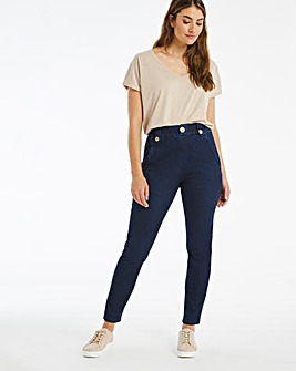 Indigo Premium Jersey Denim Pull-On Mom Jeans