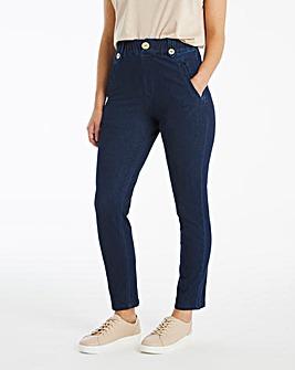Indigo Premium Jersey Denim Pull-On Mom Jeans