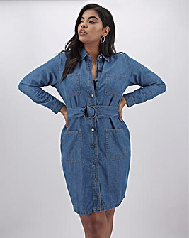 Vintage Blue Belted Denim Shirt Dress