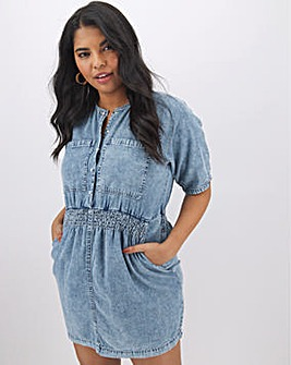 Blue Acid Wash Shirt Dress with Elasticated Waist