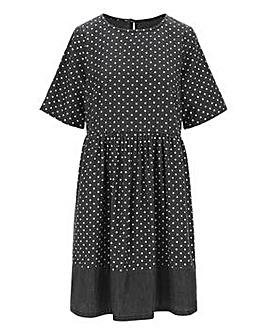 Polka Dot Lightweight Denim Smock Dress