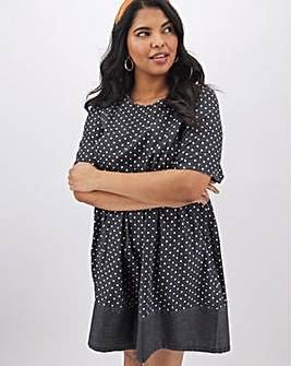 Lightweight Denim Polka Dot Smock Dress