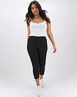 Amber Black Pull On Cropped Jeggings