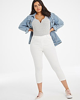 Amber White Pull On Crop Jeggings