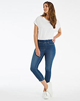 Amber Mid Blue Pull On Cropped Jeggings