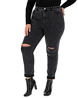 Washed Black Demi Ripped Mom Jeans