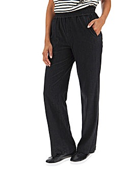 Black Supersoft Premium Jersey Denim Pull-On Wide Leg Jeans