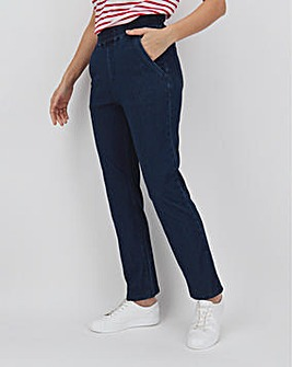 Indigo Jersey Pull-On Straight Leg Jeans