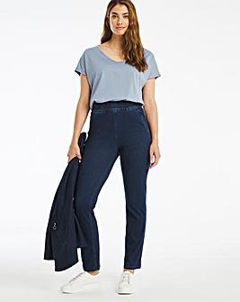 Indigo Premium Jersey Denim Pull-On Straight Leg Jeans