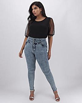 Blue Acid Shape & Sculpt Extra High Waist Skinny Jeans Regular Length