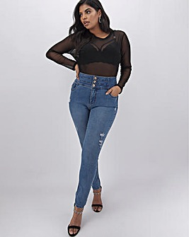 Mid Blue Shape & Sculpt Extra High Waist Ripped Skinny Jeans