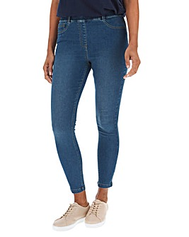 Amber Mid Blue Pull On Skinny Jeggings
