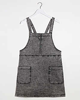 Grey Acid Zip Front Denim Pinafore Dress