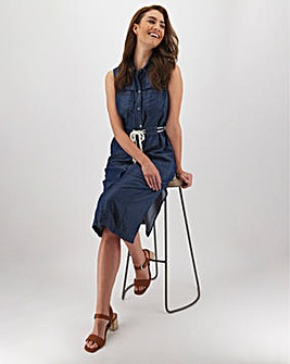 Indigo Tencel Denim Midi Shirt Dress with Rope Belt
