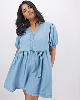 Blue Tencel Puff Sleeve Smock Dress