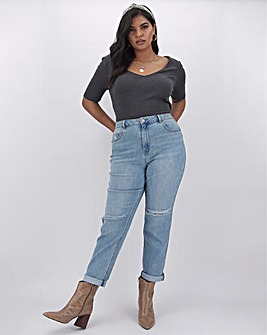 Demi Stonewash Ripped Mom Jeans