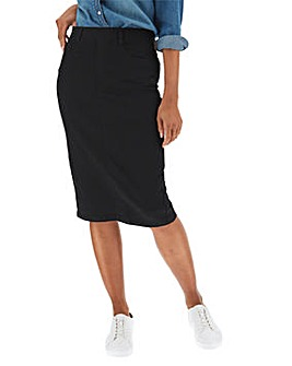 Black Amber Pull-On Denim Tube Skirt