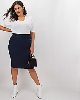 Indigo Amber Pull-On Denim Tube Skirt