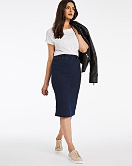 Indigo Amber Pull-On Stretch Denim Tube Skirt