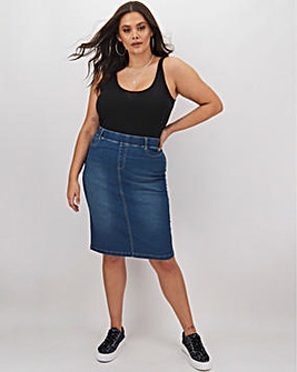 Blue Amber Pull-On Denim Tube Skirt