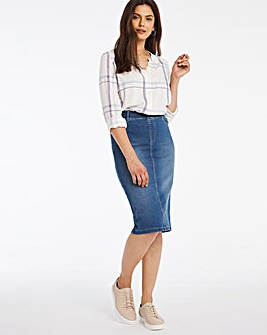 Mid Blue Amber Pull-On Stretch Denim Tube Skirt