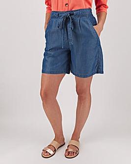 Indigo Tencel Belted Knee Length Shorts
