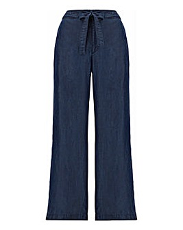 Indigo Tencel Belted Wide Leg Trousers